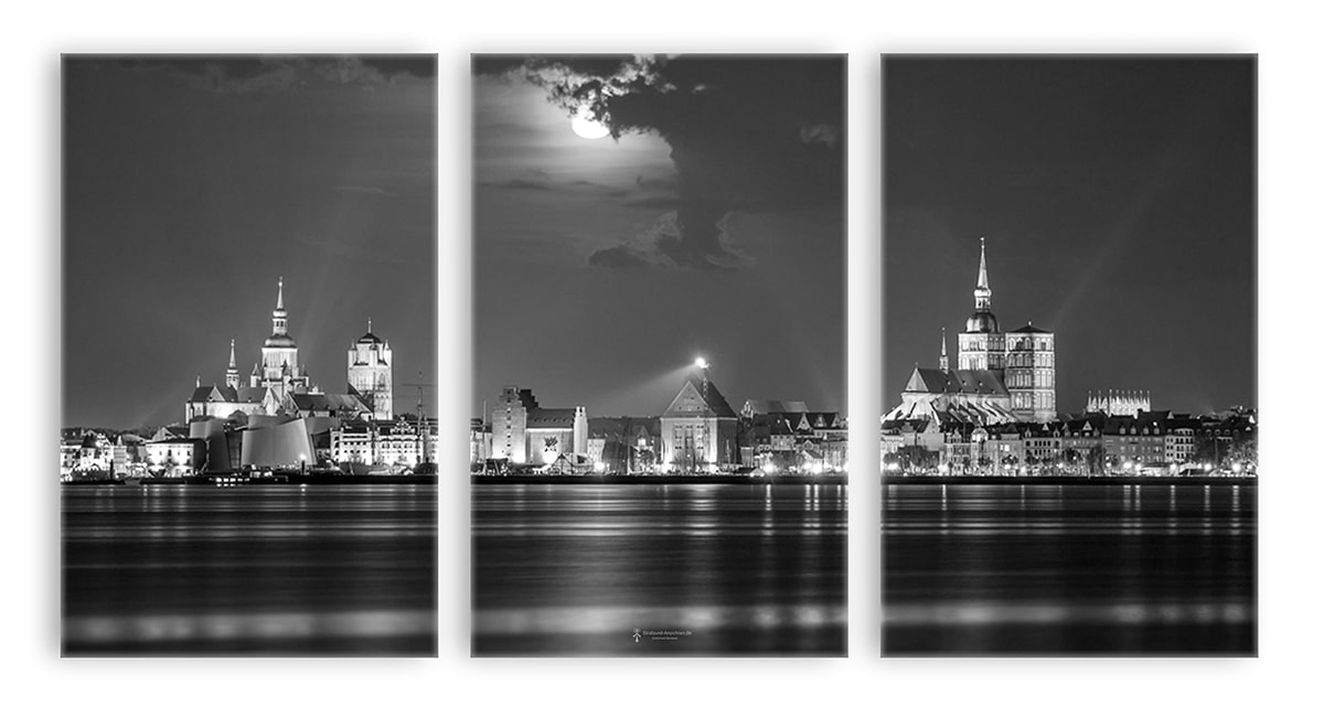 3 teiler leinwand skyline stralsund bei nacht s w stralsund. Black Bedroom Furniture Sets. Home Design Ideas